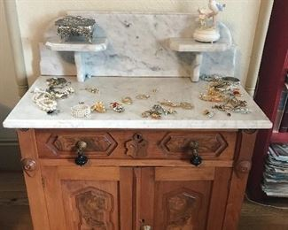 Beautiful Marble too Washstand is a part of the 3-piece Victorian Bedroom Suite.