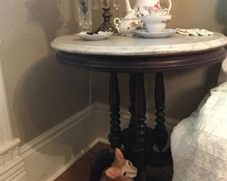 Charming Marble top lamp table provides comfort for a cute kitty and delicate Tea Service!