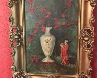 Exquisite Oriental oil on canvas hangs prominently in the front parlor.