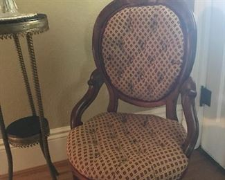 Dainty and boasting lovely period upholstery ,  there are several Victorian side chairs throughout the home.