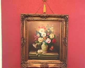Gorgeous oil on canvas makes a statement of yesteryear's simple times and leisurely gardens.