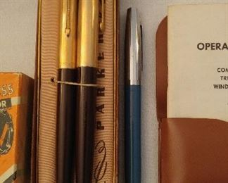 Parker pens, also Waterman with 14K nib