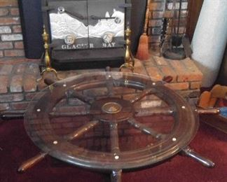 Fantastic nautical coffee table; also have matching chandelier with boat lights