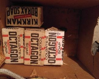 9 Colgate Octagon bar soaps;  2 Kirkman Borax. This is in the garage & will be sold W/be sold Saturday