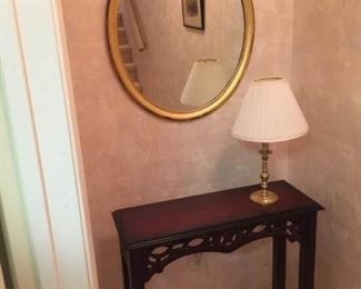 Accent Table, Lamp, and Mirror