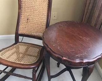 Caned Seat Rocker and Occasional Table