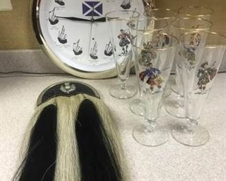 Irish Grouping Sporran, Clock, Glassware