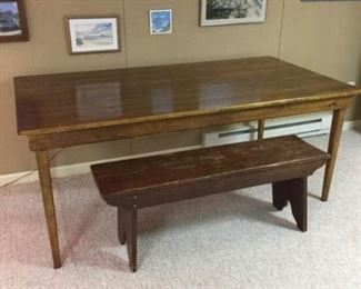 Large Pine Table with Bench