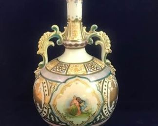 Tall Antique Vase with Eagle and Victorian Couple