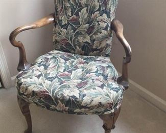 Tapestry Chair with Wood Accents