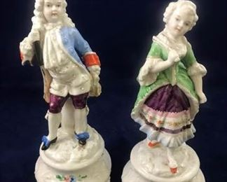 Victorian Woman and Man Figurines