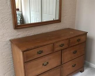 Vintage Maple Dresser and Mirror