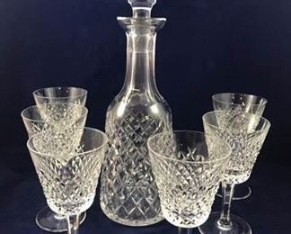 Waterford Seven Piece Wine Decanter and Goblets