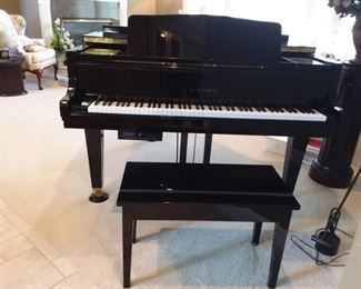 This is a pre-sale to an estate sale available for showings! Stunning Polished Ebony Baby Grand K. Kawai GE- 1 Serial # 2193002 made in Japan 1994. PianoDisc installed for option of self playing piano with disc. Fits many living rooms as well! Professional piano mover available.