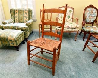 Ladderback Chair with Rush Seat