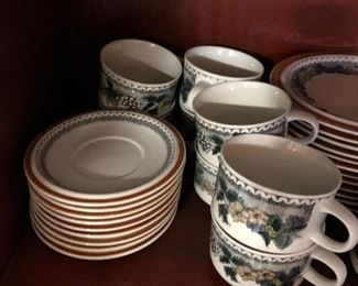 Nine coffee cups and saucers.  salad or desert plates (12).