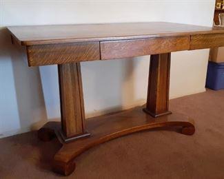 Oak desk with scroll-leg base