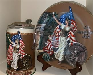 Budweiser Stein and commemorative plate