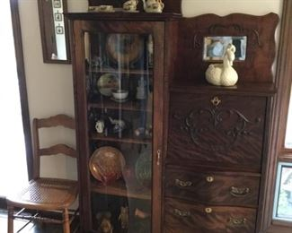 Beautiful antique secretary. Curio has perfect convex glass door