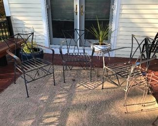 OUTDOOR IRON CHAIRS WITH CUSHIONS