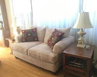 Love-seat, excellent condition, vintage lamps