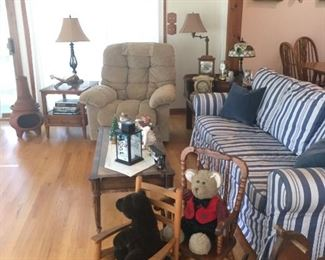 Laz-E-Boy recliner, great condition, Ikea sofa (washable cover), children's rocking chairs, rocking horse, lamps