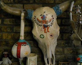 * Genuine hand-painted Texas longhorn  listed artist gary brinker