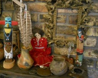 Hand-woven baskets by Yavapai, Maricopa, Hopi and other tribes * Hopi Kachina * Navajo cloth dolls