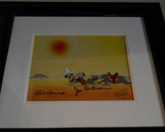 """Huckleberry Hound"" Original Animation Cel Signed by Bill Hanna and Joe Barbera"