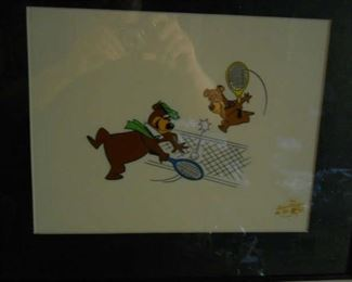 Yogi Bear & Boo Boo Tennis game Sericel Animation Art Cel by signed famous Hanna Barbera