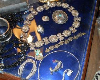 Navaho silver concha hat band and beautiful assortment of sterling native American jewelry circ. 1960-1980