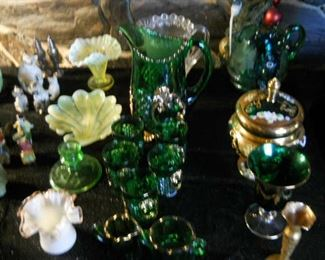 STEMWARE, GLASSWARE, POTTERY, CHINA AND SERVING DISHES/PLATES * 1930 Green Creciousware pitcher and glassware w/24 carat gold rims * Rare Alacite glassware manufactured by Aladdin including wall sconces, wall lamps, dishes Note: Owner's grandfather 'Dutch' worked as a glassblower at the factory 1920s * Austrian Ruby Stemware, Alexandria, Indiana * Johnson Brother Christmas County China * English and Brown Tovey Mugs * Signed Perfume Art Glass Bottles * Ruby Depression Golf Ball Stemware * 1940s chrome w/ruby glass champagne stemware * Unique Serving plates and beautiful vintage silver-plated rectangular tray * Stunning Copeland Serving platters * Antique 3-piece silver set * 1800's European plates * Orenda silver plate and round tray and silver-plated footed tray with handles  * Grindley English China set * Antique Chinese silverware box * Chanel Glass (1980) * Hand cut glass bowls (signed) * Silver Repousse serving dish