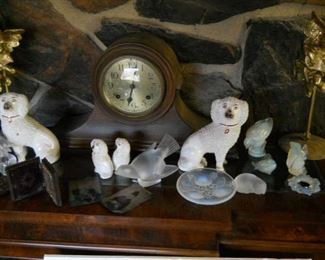 CARVINGS & FIGURINES * SABINO GLASS animal carvings * Lladro large 2-monk figurine *  * Lucite Christmas Deer Figurines (1930's) * Decorative art and statuaries including Fabulous vintage Stoffinshie dog figurines from early 1800s * Jalisco figural pots