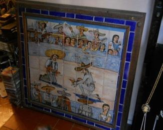 Hand-painted mexican tile from early 1900s depicting Rooster fight in arena hand signed came from a8,000 sq ft estate auch detail  it has a stick figure man upside down it must be his marking plus name