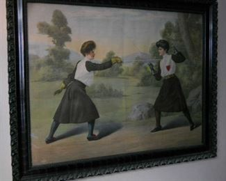 Unique large vintage print of two victorian women fencing in decorative black frame.