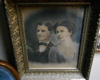 Gold leaf frame: Engagement picture Late 1800's with original marriage certificate THIS IS THE NEWELY WEDS