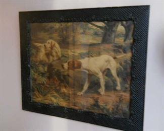 1920s Vintage dogs on a hunt in decorative black frame