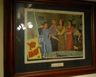 Rare 1943 Donald O'Conner owned vintage promotion poster of a Musical in which a family puts on a show to boost the morale of the local factory workers. Gold plate certification below print matted within wood frame gift presented to Donald O'Conner Stars depicted: Donald O'Connor, Susanna Foster, Lillian Gish