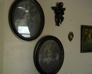 * Gorgeous round Art Deco framed pair: Vintage Cupid awake and cupid asleep photos circa 1900s