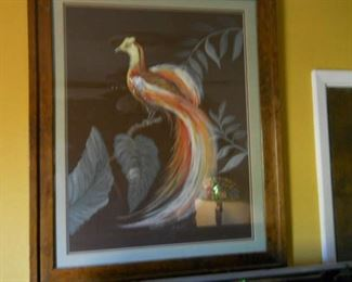 bird of paradise water color sign bought fom artist in Palm Beach