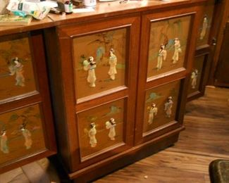 * 7' Antique Asian Hand Carved Portable Mobile Wooden Bar Cabinet inlaid with gems including nephrite and mother of pearl.