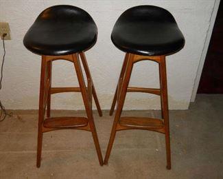 * Danish modern black leather seat barstools as seen on Mad Men series