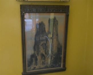 Notre dame church  hand tinted print late 1800s