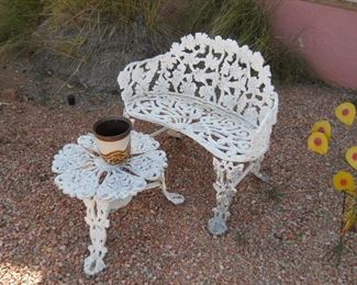 Victorian cast iron chair and table
