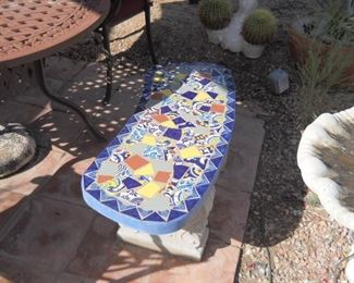 solid cement vintage mexcian tile bench