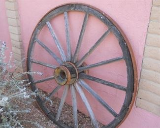 antique old wheel from wagon train