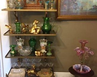Epergne, Vintage Glass  Maxfield Parrish