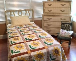 Twin Bed with Sunflower Quilt