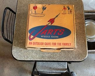 Jarts in original box; small card/game table for children (two chairs included).