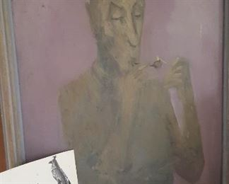 "Ludvig (Ludwig/Louis) Durchanek painting, ""The Smoker."""